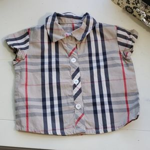 Burberry Infant Girls Plaid Button-Down Top 6M